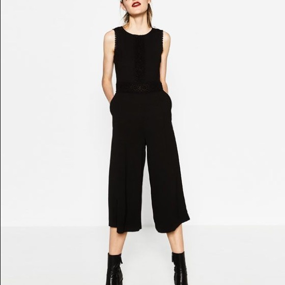e0a008397df Zara black cropped jumpsuit— medium